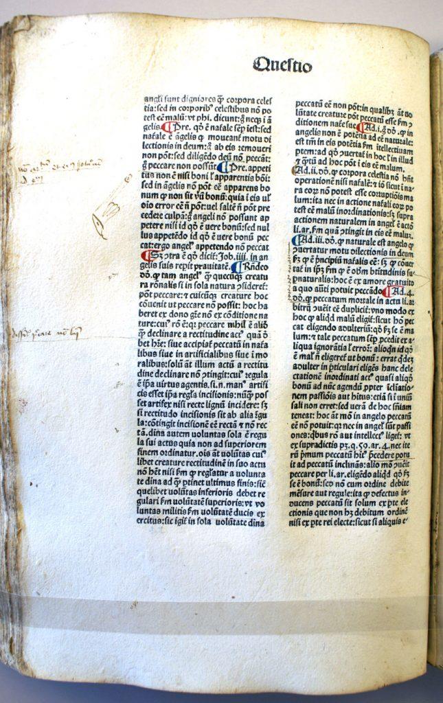 Figure 5. Incunabulum of Aquinas' Summa 1477. Queen's University.