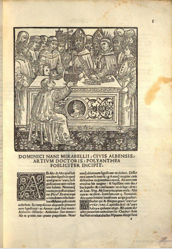 Figure 7. Polyanthea 1503. First page of content.